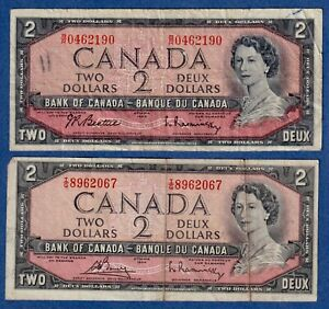 Canada $2 (1954) - Combo - 2 different Signature Sets - Well Circulated✹CN0025✹