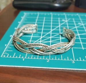 """Bold Textured Triple Woven Braided Cuff Bracelet 925 Sterling Silver 8"""" 21.8 gms"""