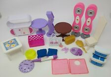 Dollhouse Furniture & Doll Accessories Lot: Plastic & Wooden Chair, Table, Etc.