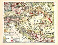 Geologische Karte Österreich - Ungarn Gesteine Geologie Geologe  LANDKARTE  1908