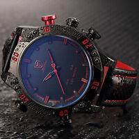 Shark Men's Digital LED Date Day Alarm Quartz Analog Leather Sport Wrist Watch