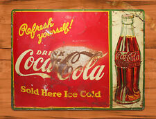 "Tin Sign ""Coca Cola Refreshing"" Soda Pop Ad Rustic Kitchen Wall Decor"