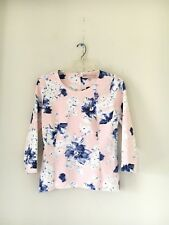 PHILOSOPHY REPUBLIC CLOTHING BLUE PINK CREAM FLORAL WOMEN SEXY BLOUSE TOP SIZE S