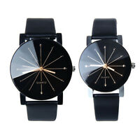 Men Women's Quartz Watch Glass Dial Alloy Case PU Leather Band Wrist Watches Hot