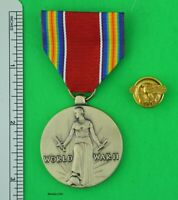 WW2 US VICTORY MEDAL and WWII HONORABLE DISCHARGE RUPTURED DUCK LAPEL DEVICE