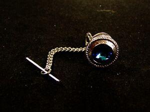 Vintage Silvertone & Blue Rhinestone Tie Tac Unbranded 72815
