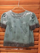 Ojay Designer Womens Green Cut Out 100% Genuine Leather Top - Size 12