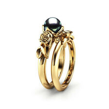 Two Pieces Gold Filled Wedding Bridal Ring For Women Black Pearl Jewelry Sz 6-10