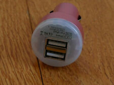 Dual USB Car Phone/iPad Charger Excellent Condition Pink