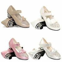 GIRLS KIDS CHILDRENS LOW HEEL PARTY WEDDING MARY JANE STYLE SANDALS SHOES SIZE