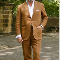Linen Summer Beach Men's Suit Tuxedos Formal Plus Size 2 Piece Slim Fit Tailored