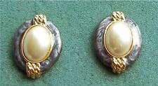 Blue Enamel & Pearl Pierced Earrings  - Costume Jewelry - Vtg