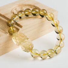 Natural Citrine Quartz Crystal Dragon Pi Xiu Beads Bracelet 10mm AAAA