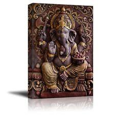 "Canvas Prints - Sculpture of Gannesa Hindu God on the Orange Wall - 32"" x 48"""