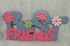 "Home Decor ""BEST FRIENDS"" Sign Shelf Plaque Wooden Word Decorative Table Top"