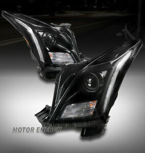 For 13-17 Cadillac XTS Non-AFS LED DRL Black Projector Headlight Left+Right Pair