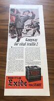 Vintage 1942 EXIDE WWII WW2 Car Battery Art Decor Ephemera Print Ad 40's WAR