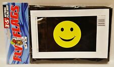 1 Smiley Face Black & Yellow Indoor or Outdoor Flying Flag 3x5ft Banner