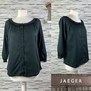 JAEGER Black Semi Sheer Blouse Size 10 Peaky Blinders Quirky Arty