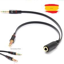 Cable Adaptador Y splitter 1 jack hembra a 2 macho 3,5mm micro auriculares Negro