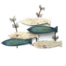 School of Fish Wood Metal Wall Art Hanging Sculpture Beach Theme BIG 59cm