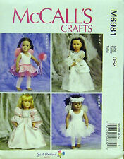 MCCALLS PATTERN 6981 COSTUMES BRIDE PRINCESS FAIRY BALLET 18 DOLL CLOTHES UN-CUT