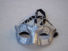 MASQUERADE BALL MASK@Evening Dress@SILVER Venetian FACE@CROWN Party@Ribbon ties
