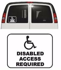 DISABLED ACCESS REQUIRED Vinyl Car Van Sticker, 11 Colours, Wheelchair
