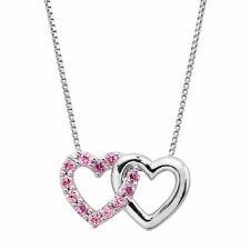 1/4 ct Created Pink Sapphire Joint Hearts Pendant in Sterling Silver