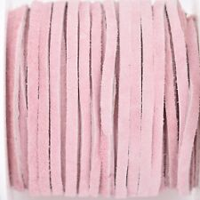 """25yd 1/8"""" Flat Suede Leather Lace, Pink, Realeather 3mm, Lth0045"""