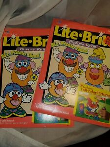 Lot 2 1996 MR. Potato Head Lite Brite refill Pack-12 FULL COLOR & 8 Guide Sheets