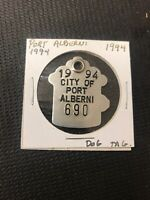 vintage Dog License Tag Tax Port Alberni 1994 No 690 D.T.P. Fire Hydrant