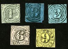 1852-53 Germany Thurn and Taxis Stamps Scott #42-46   All: Used H/HR