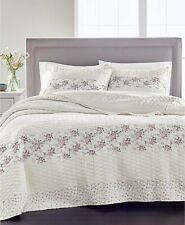 Martha Stewart Collection Velvety Textured Floral Stripe Cotton Quilt KING Pink