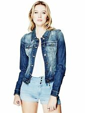 GUESS Jacket Women's Slim Fit Destroyed Stretch Denim Jacket M Dark Blue NWT