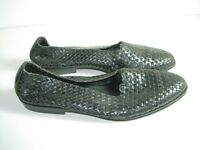 WOMENS BLACK WOVEN LEATHER COLE HAAN LOAFERS BALLET FLATS SHOES SIZE 8.5 AA N