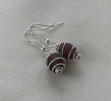 Handmade Emerald Green Red Pink Glass Bead ~ Silver Plated Spiral Caged Earrings