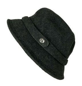 Coach Black Gray Wool Blend Classic Leather Trim Bucket Hat Size P/S