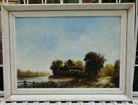 Oil on Board Framed Landscape with a river Oil Painting, signed