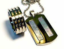 Men's Ring And Dog Tag Pendant Set