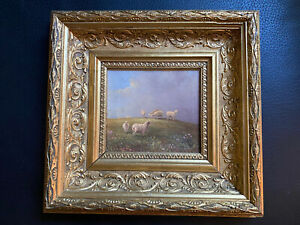 Antique Miniature Landscape Painting Of Sheep In A Field