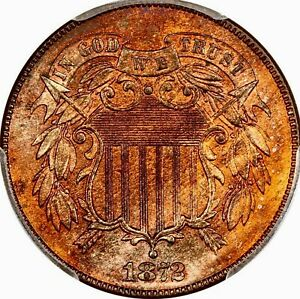 1872 TWO CENT PIECE EXTREMELY RARE BLAZR GEM++ PCGS MS 65 RED BROWN LOW POP 24/4