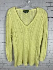 LAUREN RALPH LAUREN KNIT LINEN TOP MEDIUM WOMEN'S YELLOW SWEATER BLOUSE LRL B1D