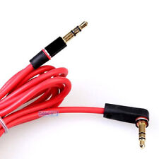 1m Right Angle 3.5mm to Straight Stereo Male Jack Red Audio Headphone Aux Cable