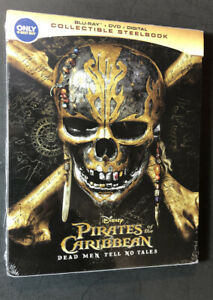 Pirates of the Caribbean Dead Men Tell No Tales [ STEELBOOK ] (Blu-ray +DVD) NEW