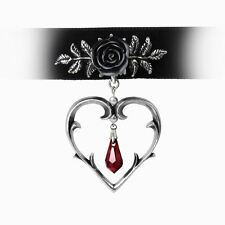 Alchemy Gothic Wounded Love Black Rose Heart Choker Necklace P740