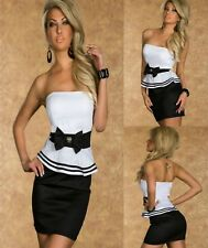 Sz 8 10 White Black Strapless Peplum Sexy Formal Cocktail Party Club Mini Dress