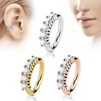 Nose Ring Ear Hoop Tragus Helix Cartilage Earrings Crystal Stainless Steel v ov