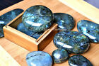 Natural Gemstone Crystal One Large Tumbled Labradorite Palm Stone Unique Rare