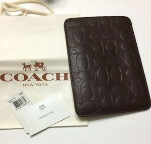 Coach Signature Embossed Leather E-Reader Case Sleeve F63316 Brown MSRP $128 NWT
